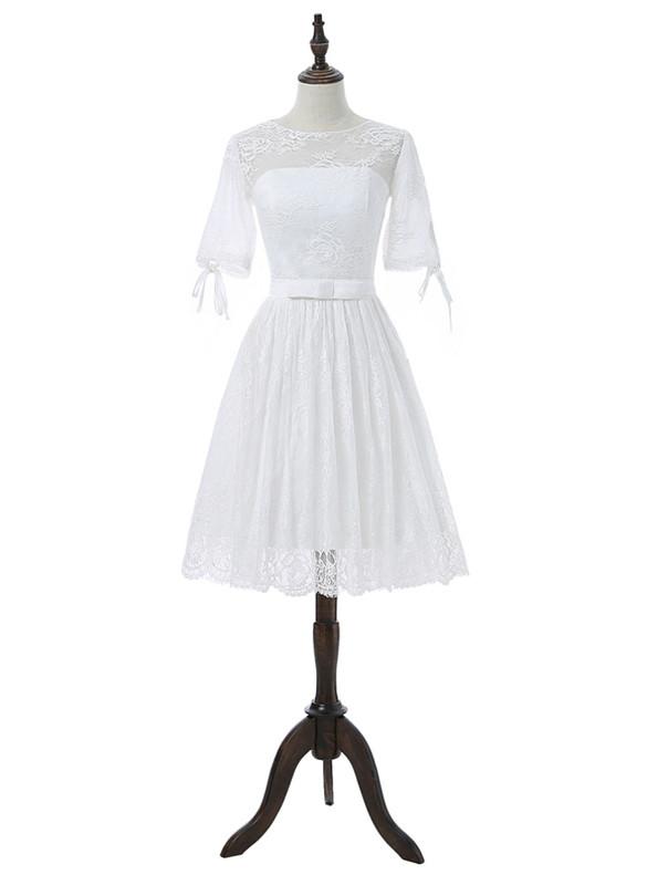 White Lace Short Sleeve Wedding Dress