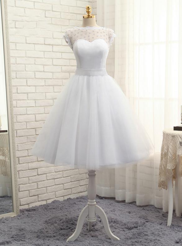 White Tulle Crystal Bow Tea Length Wedding Dress