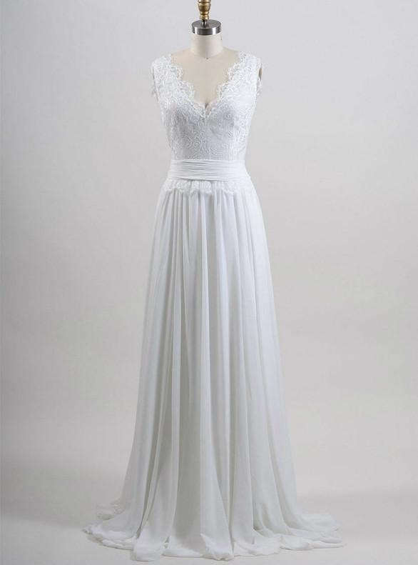 Cheap White Chiffon Lace V-neck Wedding Dress