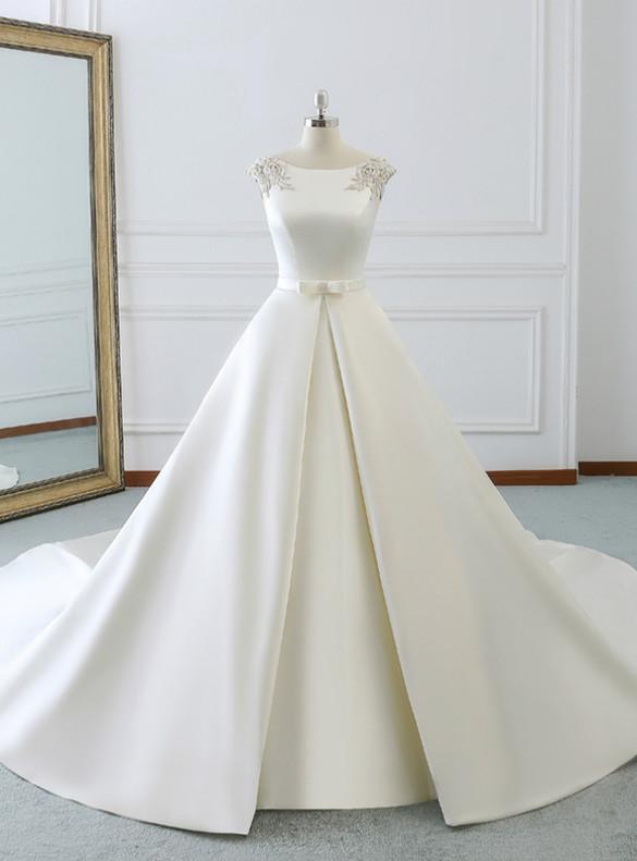 White Satin Beading Wedding Dress With Train