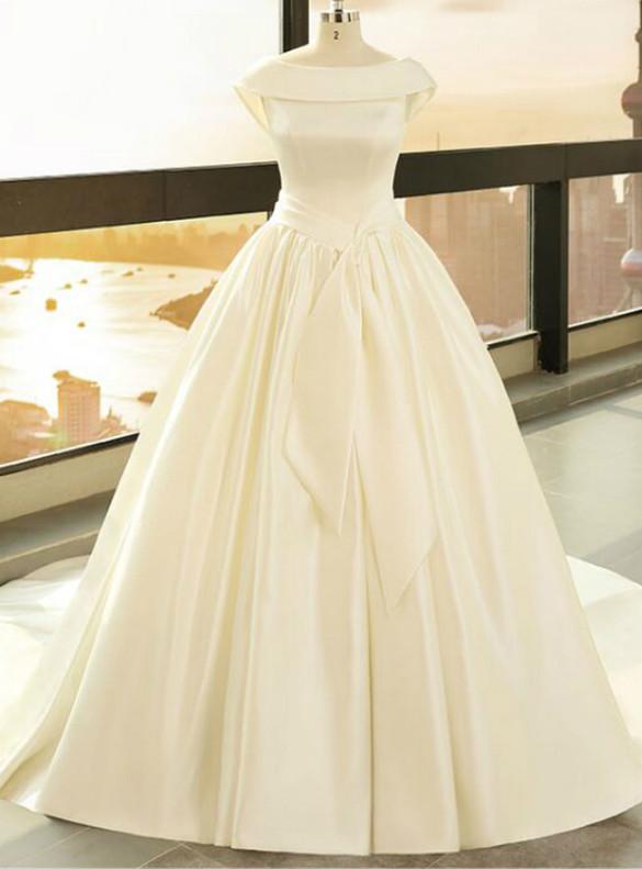 Ball Gown Satin Backless Wedding Dress