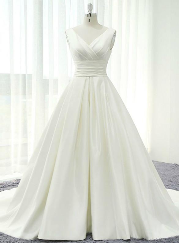 Dreamy Satin V-neck Pleats Wedding Dress