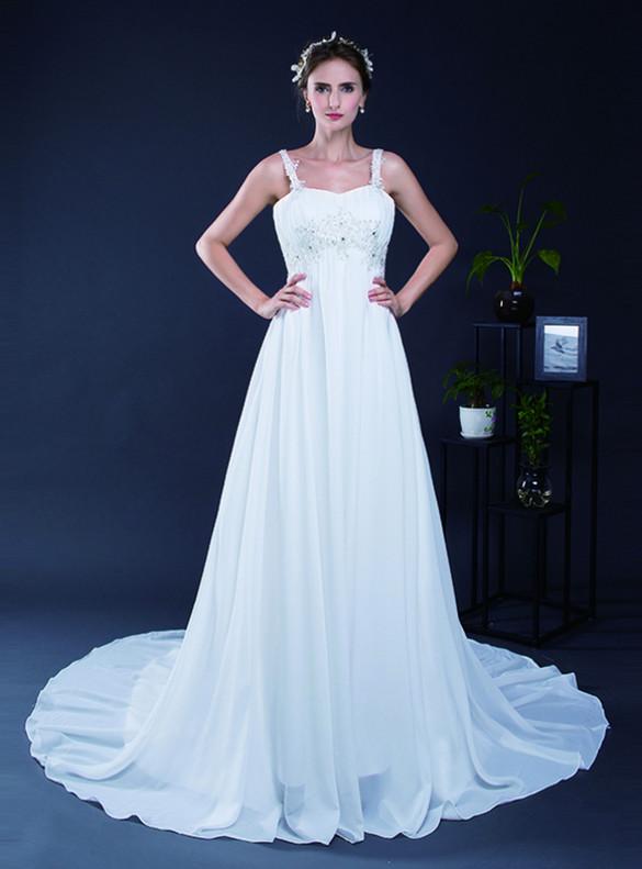 White Chiffon Straps Appliques Beading Wedding Dress