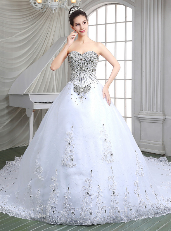 White Tulle Sequins Appliques Beading Crystal Wedding Dress