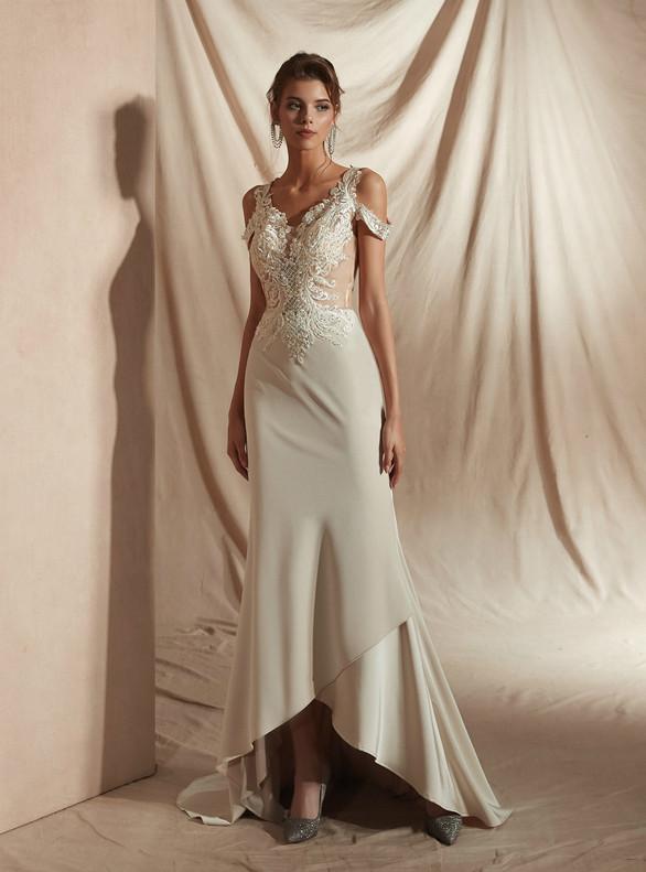 Mermaid Appliques Beading V-neck Wedding Dress
