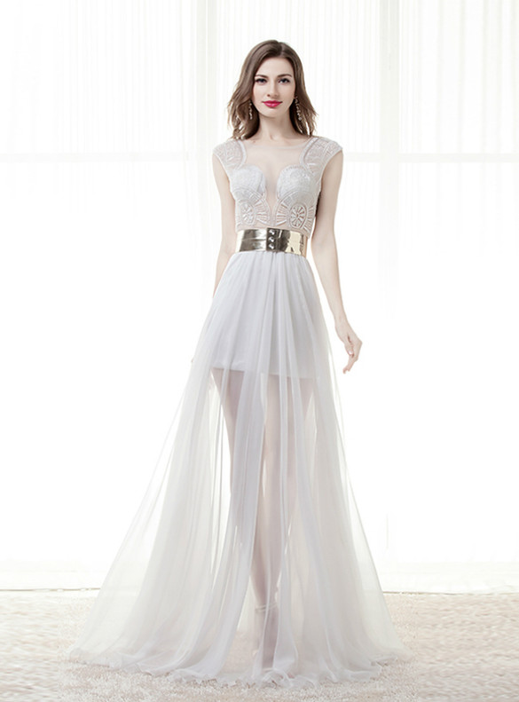 White See Through Lace Wedding Dress With Belt