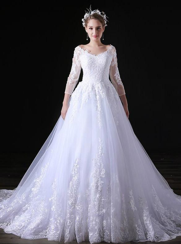 White V-neck Long Sleeve Tulle Appliques Wedding Dress