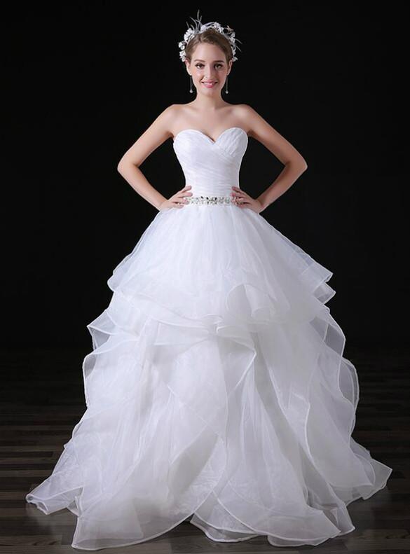 White Organza Sweetheart Pleats Beading Crystal Wedding Dress