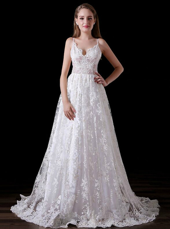 White Lace Spaghetti Straps Wedding Dress