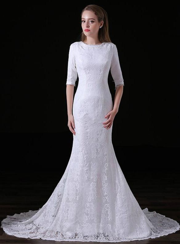 White Lace Mermaid Short Sleeve Wedding Dress