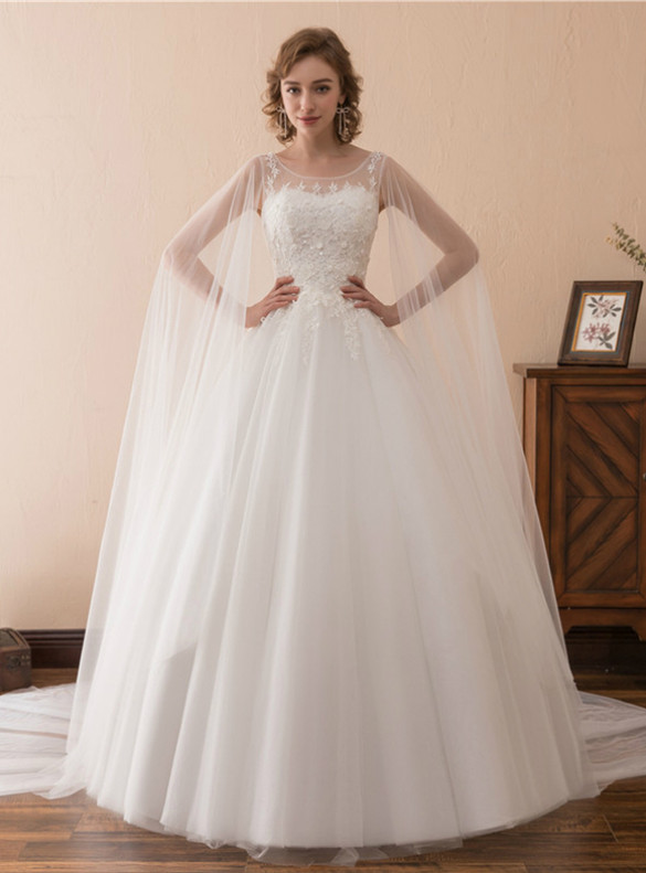 White Ball Gown Tulle Appliques Wedding Dress