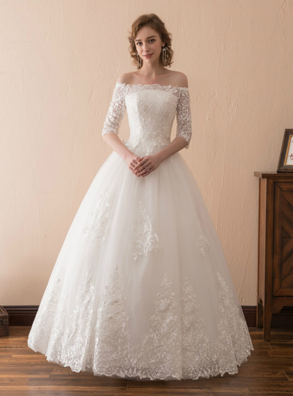 White Ball Gown Tulle Appliques Short Sleeve Wedding Dress