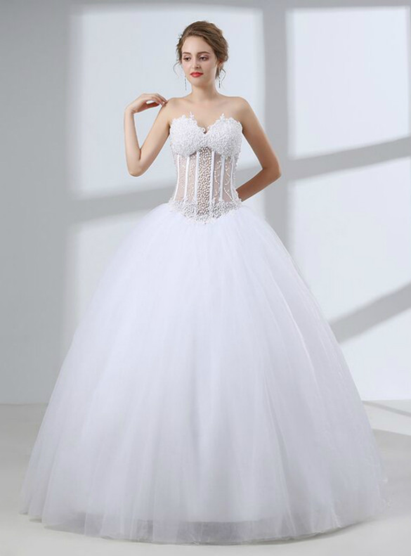 Sexy See Through White Tulle Sweetheart Wedding Dress