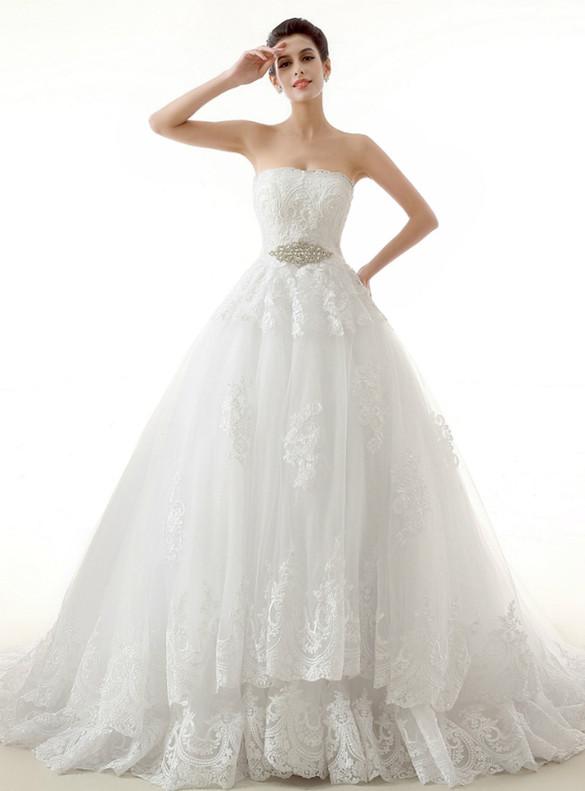 White Tulle Strapless Appliques Wedding Dress