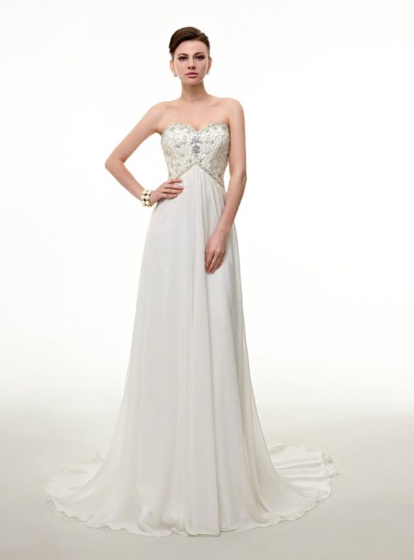 White Chiffon Sweetheart Crystal Pearls Wedding Dress