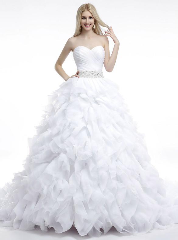 White Tulle Sweetheart Pleats Beading Sequins Wedding Dress