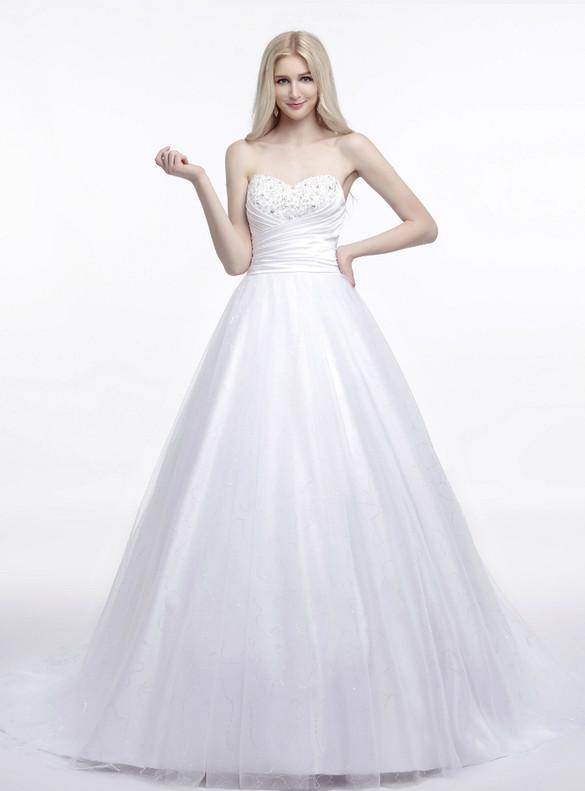 White Sequins Tulle Sweetheart Beading Wedding Dress