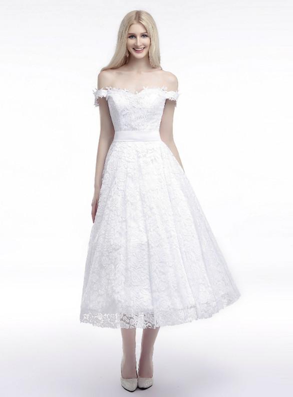 White Lace Off the Shoulder Tea Length Wedding Dress