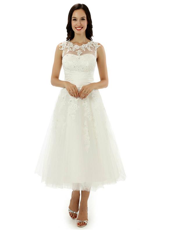 White Tulle Appliques Beading Tea Length Wedding Dress
