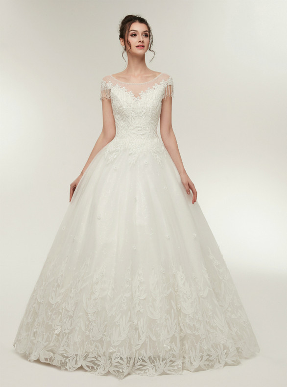White Tulle Appliques Beading Sequins Cap Sleeve Wedding Dress