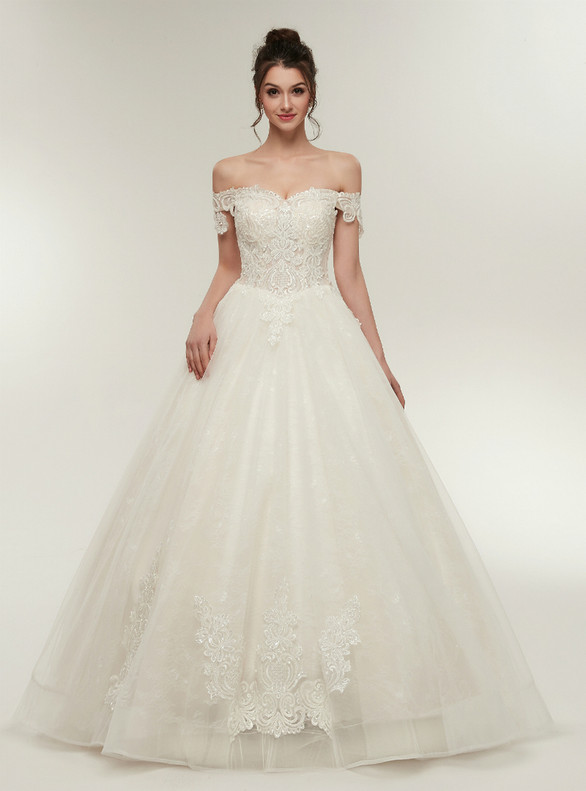 White Tulle Off the Shoulder Appliques Wedding Dress