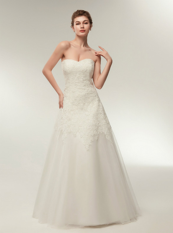 Fashionable White Tulle Appliques Strapless Wedding Dress