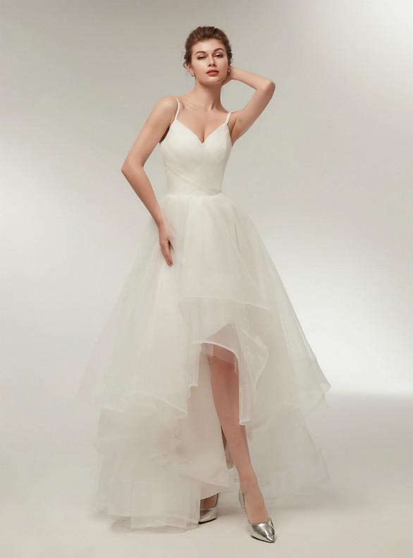White Hi Lo Tulle Pleats Wedding Dress