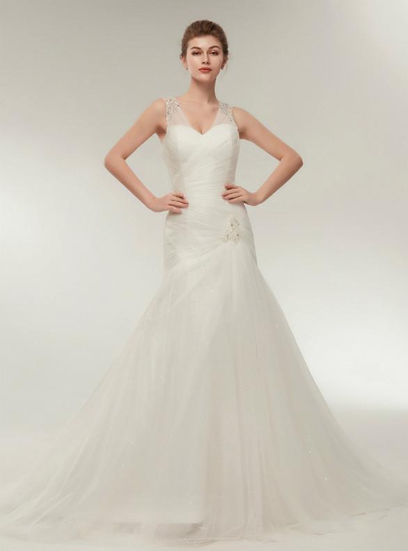 White Mermaid Tulle V-neck Pleats Beading Wedding Dress