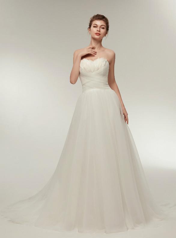 White Tulle Sweetheart Pleats Feather Wedding Dress