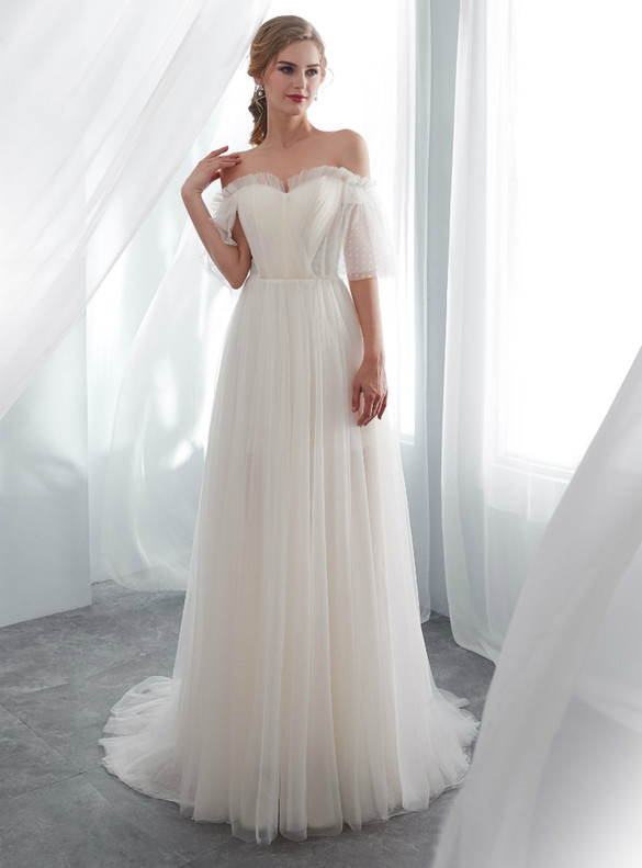 Ivory White Tulle Off the Shoulder Pleats Wedding Dress