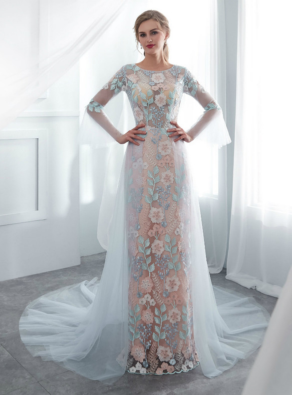 Sheath Blue Tulle Embroidery Flower Wedding Dress