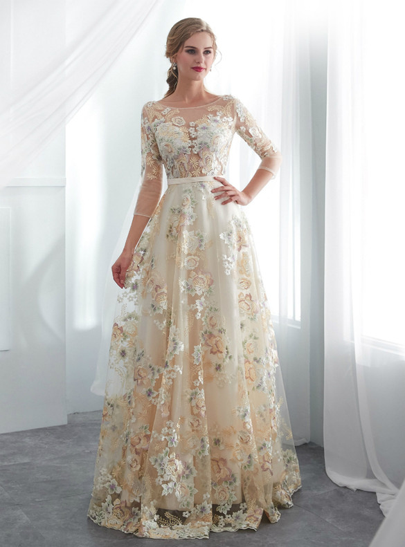 Champagne Tulle Embroidery 3/4 Sleeve Wedding Dress