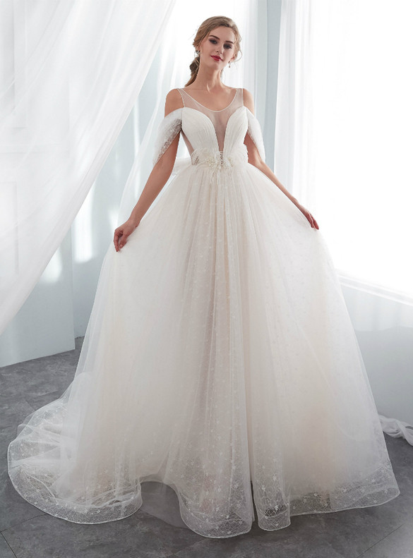 Ivory White Tulle Lace Pleats Pearls Wedding Dress
