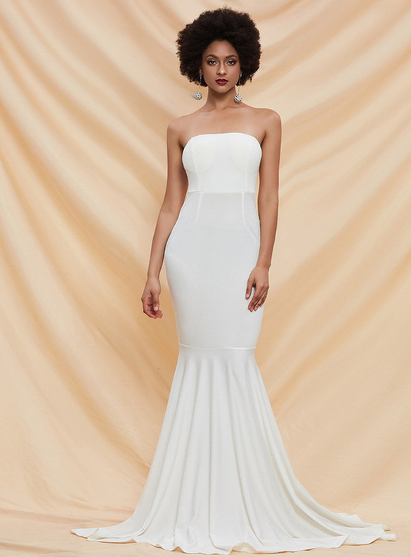 In Stock:Ship in 48 Hours Simple White Mermaid Party Dress
