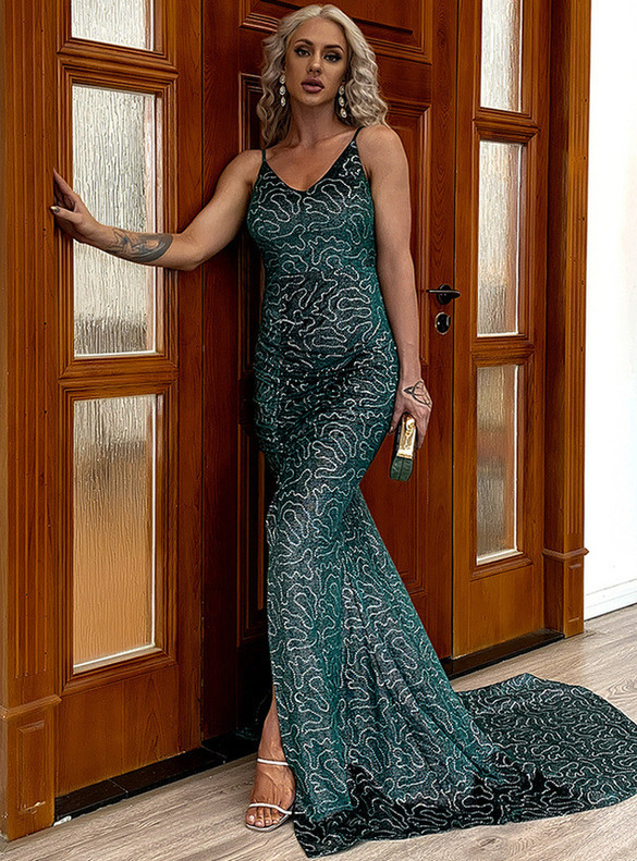In Stock:Ship in 48 Hours Green Mermaid Sexy Dress