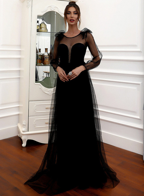 In Stock:Ship in 48 Hours Black Long Sleeve Tulle Party Dress