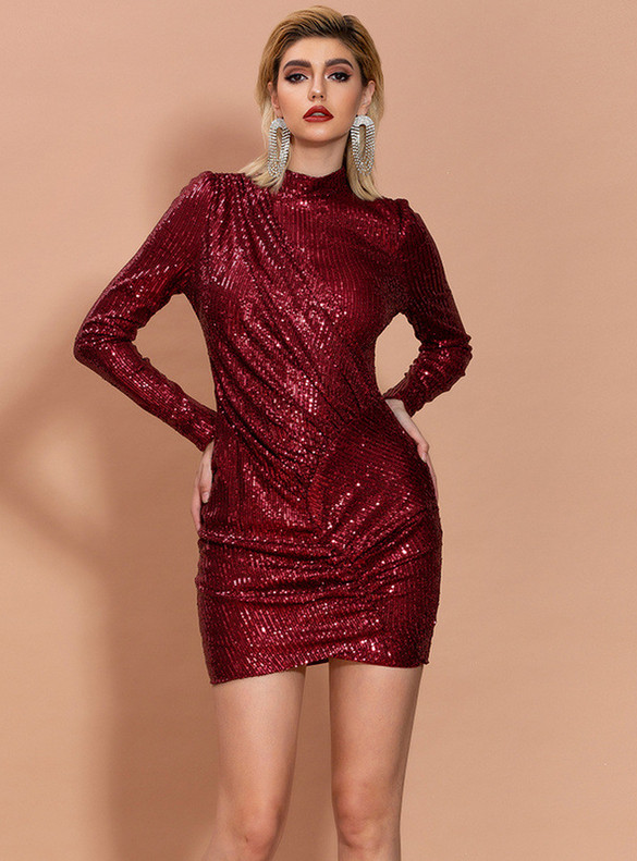 In Stock:Ship in 48 Hours Burgundy Sequins Mini Party Dress
