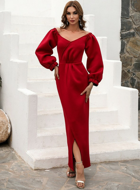 In Stock:Ship in 48 Hours Burgundy Off the Shoulder Party Dress