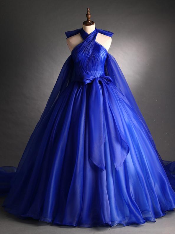 Royal Blue Halter Pleats Quinceanera Dress