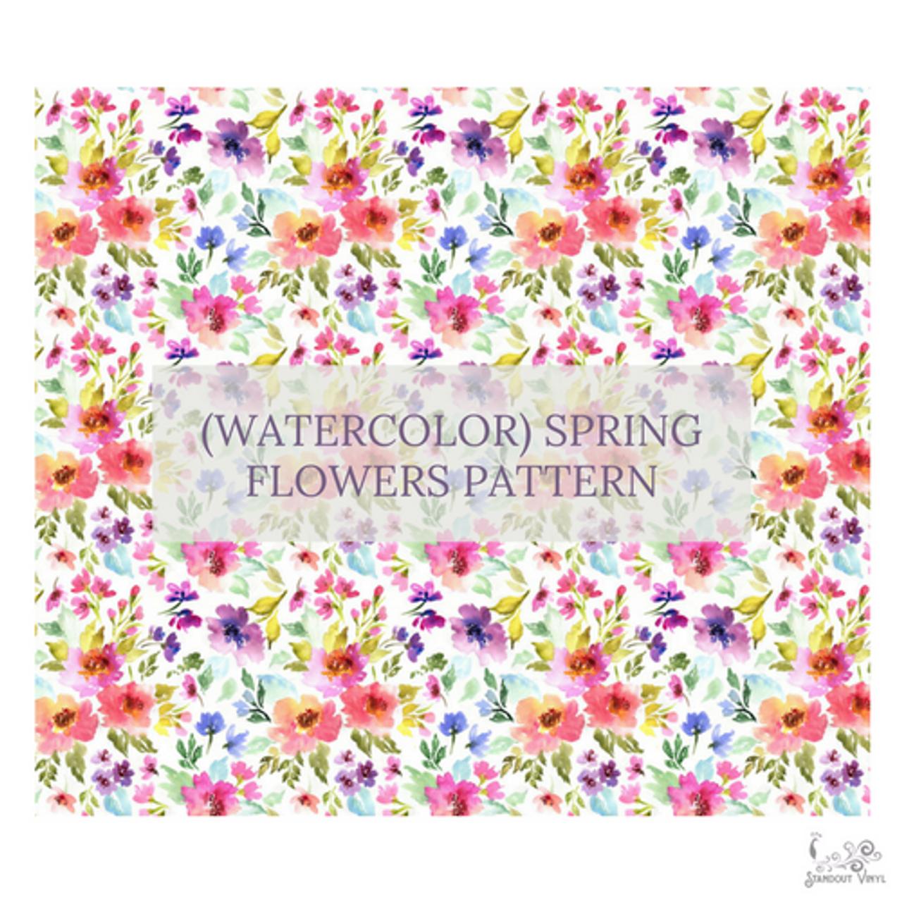 Spring Flowers Patterned Vinyl Choose Adhesive Or Htv Standout Vinyl