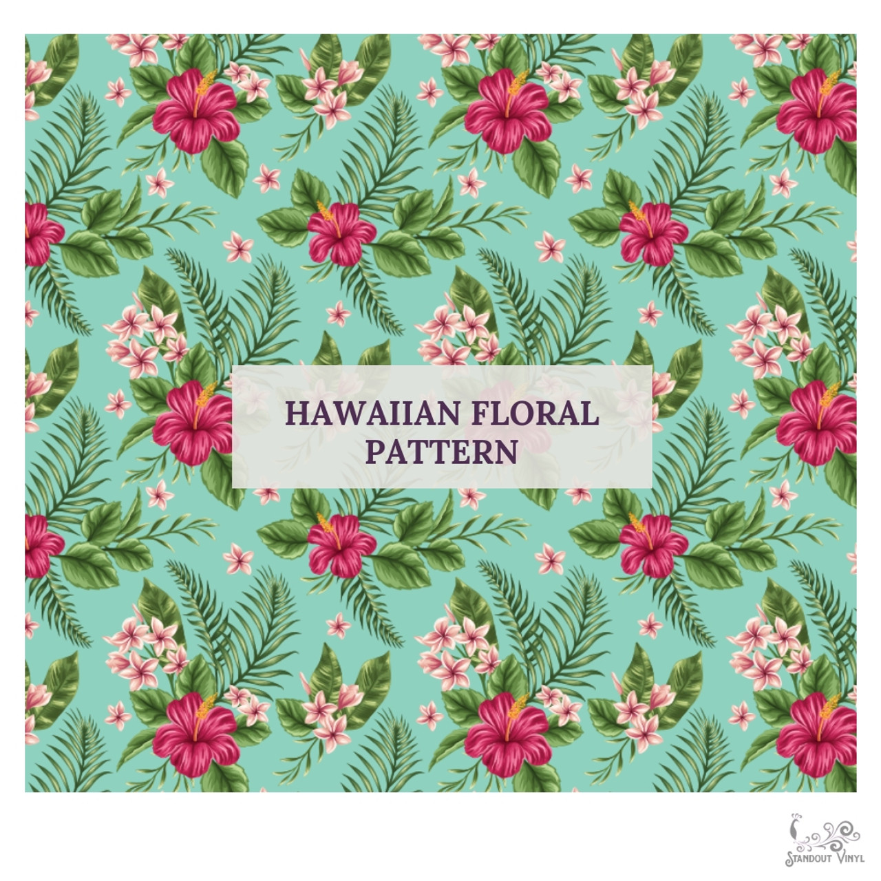 Hawaiian Floral Pattern Choose Adhesive Or Htv Standout Vinyl