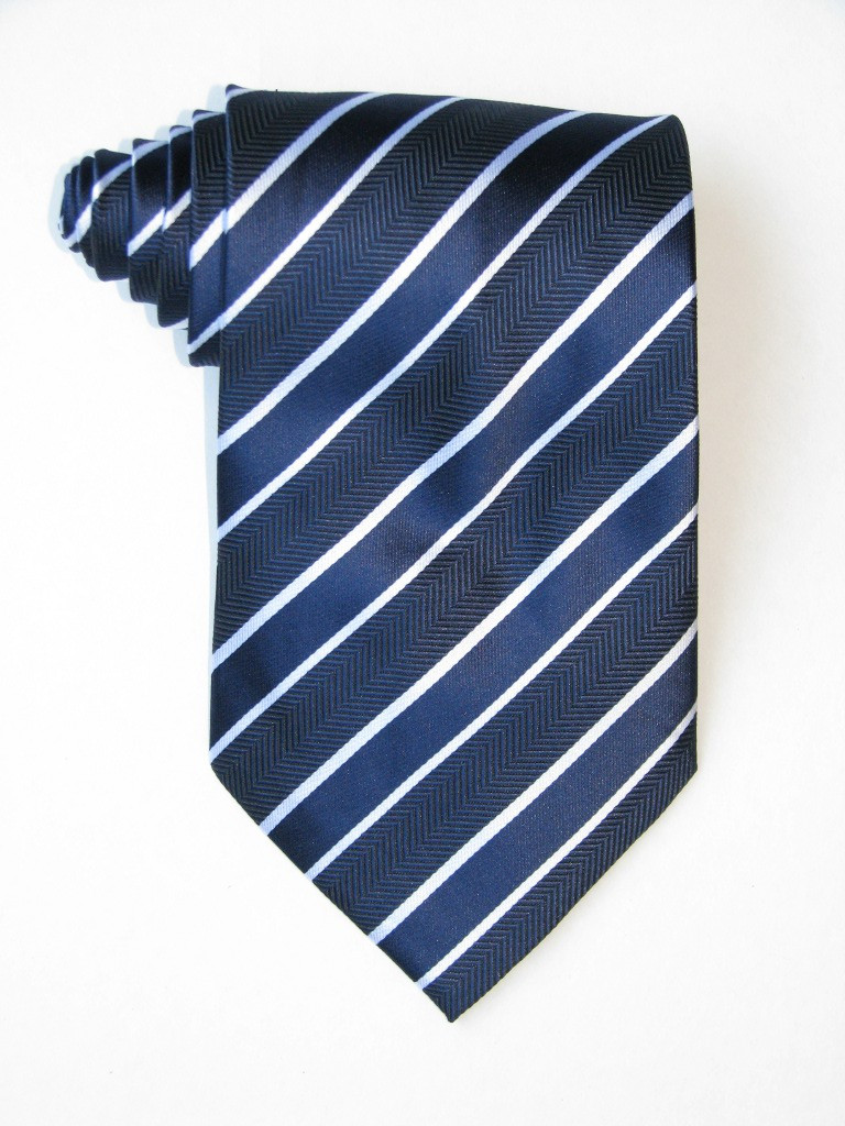 Free Double White Stripe Over Blue Background Tie