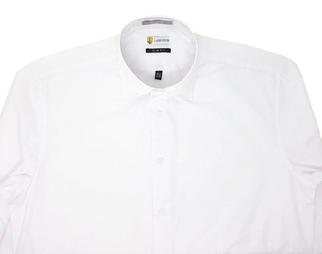 White Slim Fit Spread Collar French Cuffs Men's Shirt
