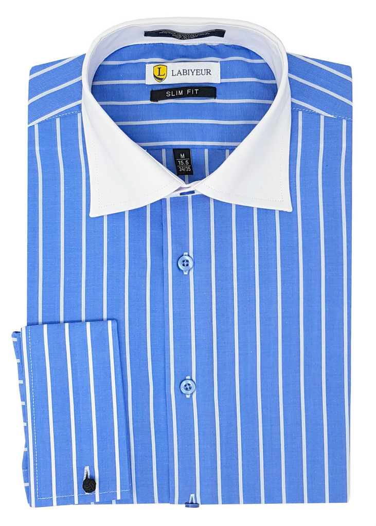 Labiyeur Slim Fit Blue and White Striped Cotton Blend French Cuffs Dress Shirt