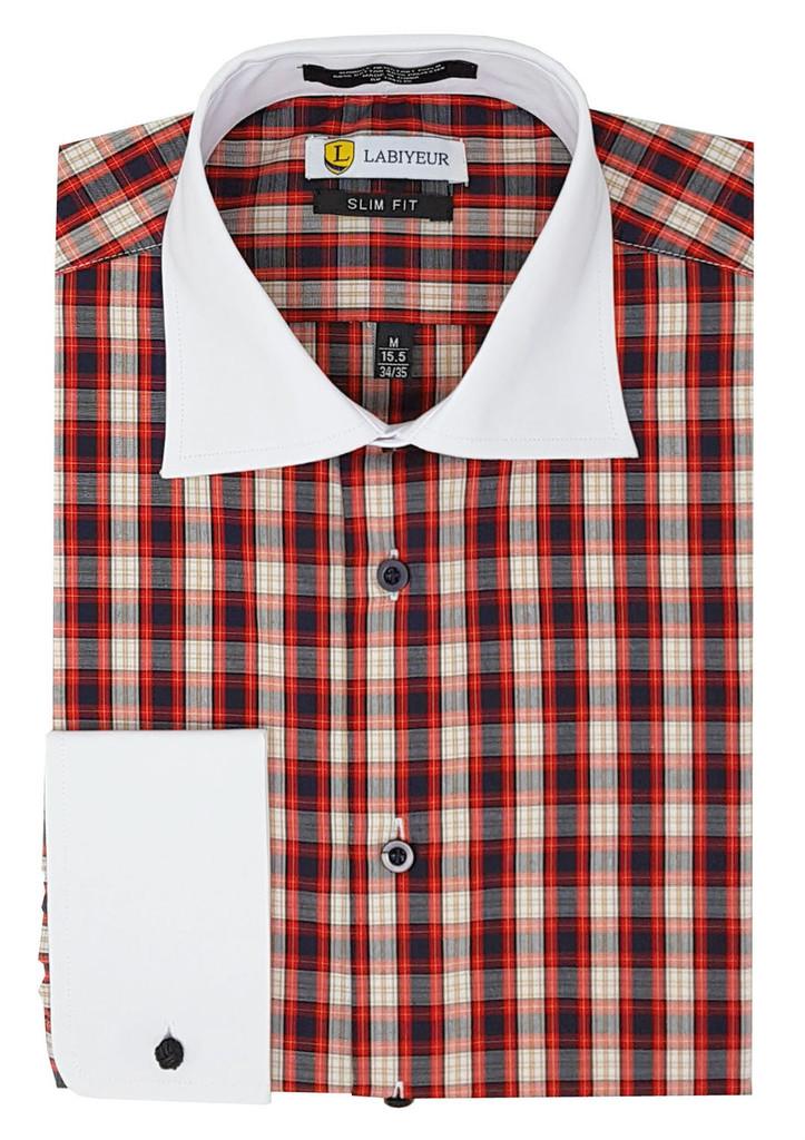 Labiyeur Slim Fit Multicolor Cotton Blend French Cuffs Dress Shirts