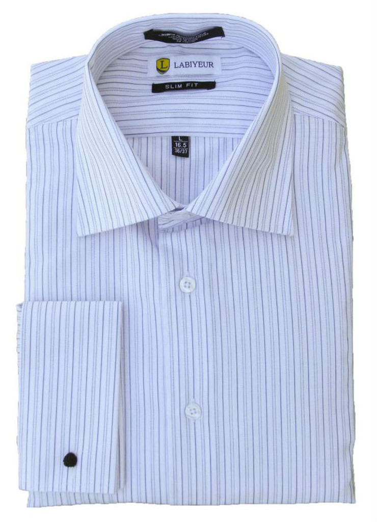 Labiyeur Slim Fit White and Blue Stripes Cotton Blend French Cuffs Dress Shirt