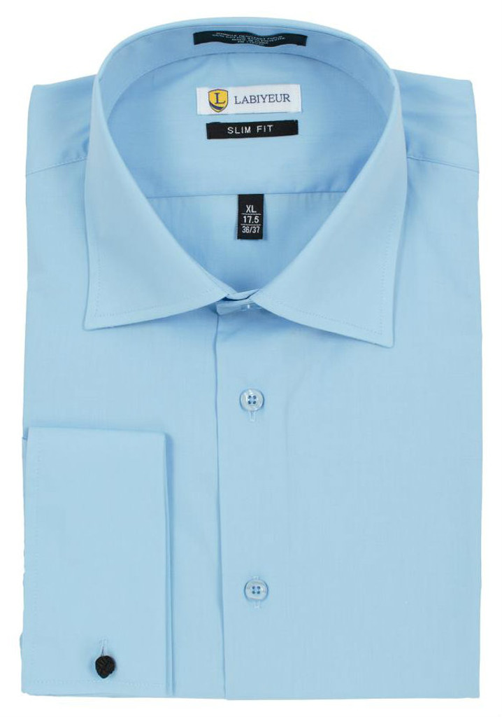 Labiyeur Slim Fit Sky Blue Cotton Blend French Cuffs Dress Shirt
