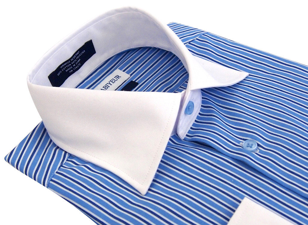 Labiyeur Slim Fit Double Blue White Stripes French Cuff Dress Shirt