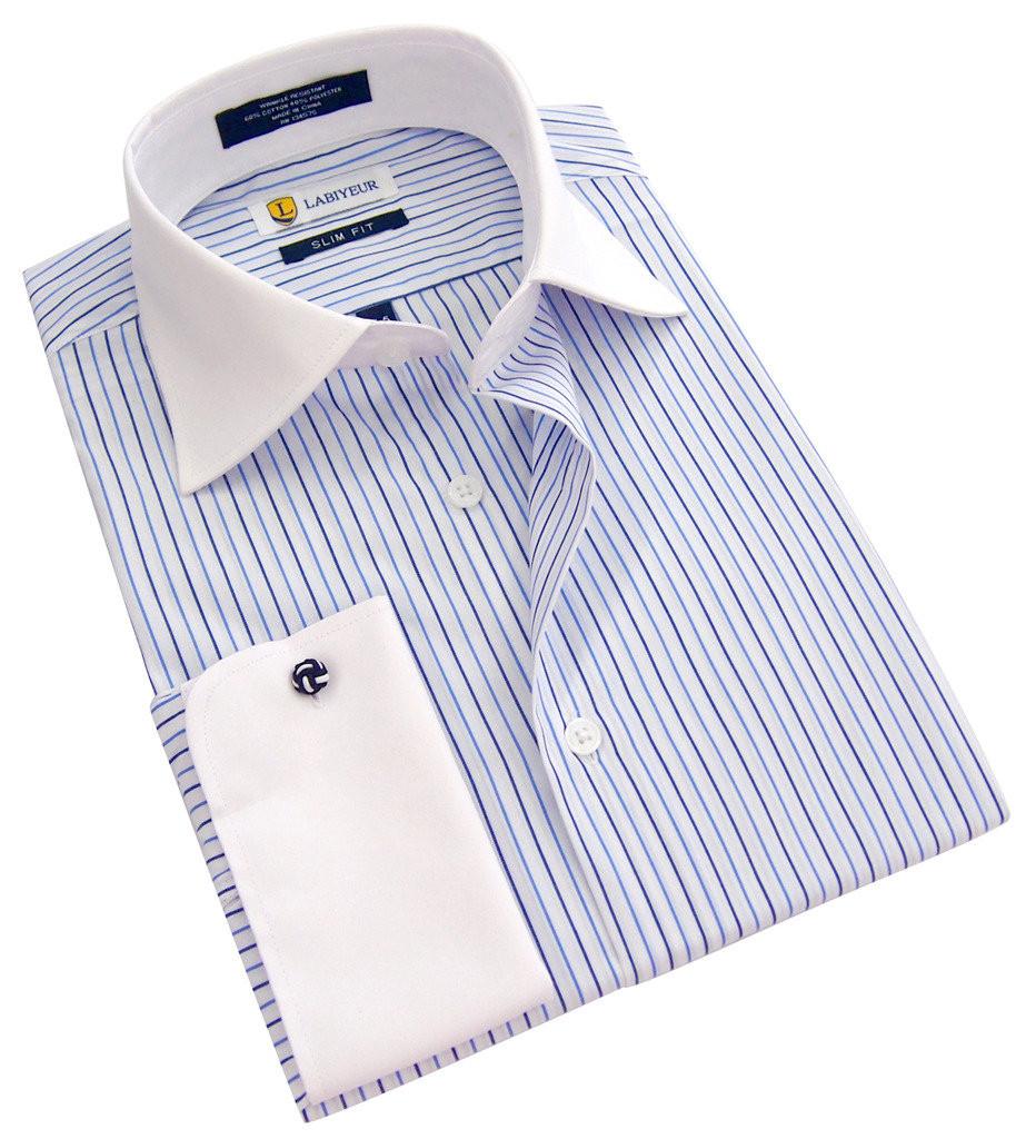 Labiyeur Slim Fit Blue Stripes on White French Cuff Dress Shirt