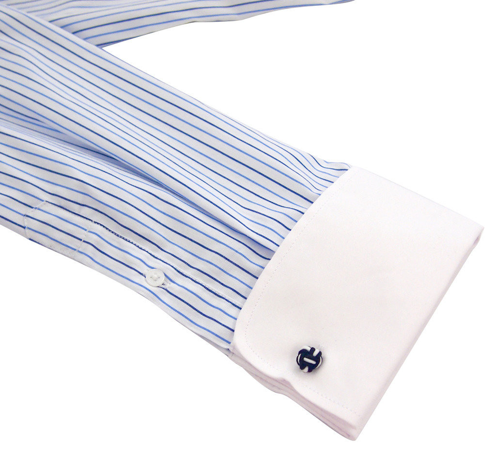 Labiyeur Slim Fit Blue Stripes on White French Cuff Dress Shirt